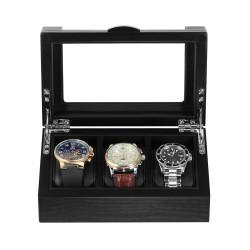 Klockbox / klocklåda i matt svart trä, för 3 klockor