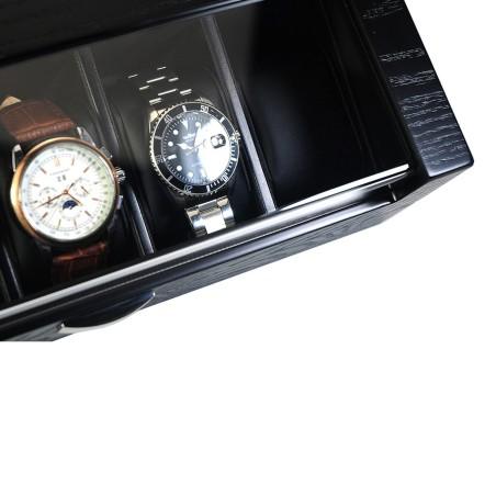 Klockbox / klocklåda i matt svart trä, för 5 klockor