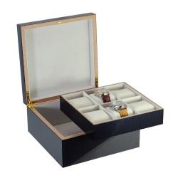 Klocklåda / klockbox av trä för 6 klockor - snygg kolfiber look