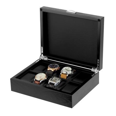 Klockbox / klocklåda i matt svart trä, för 8 stora klockor