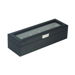 Klockbox / klocklåda av snygg svart läder för 5 stora klockor