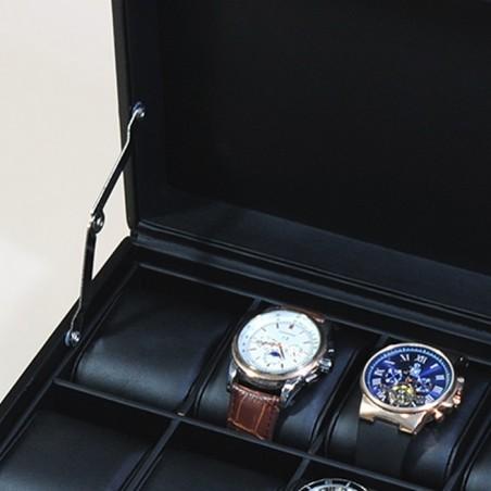 Klockbox i svart läder - förvaring av 10 stora klockor