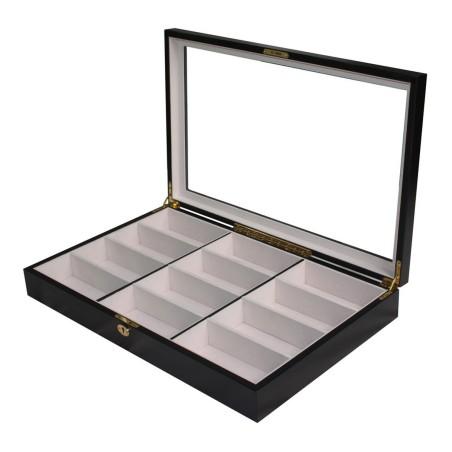 Glasögon låda / box av ebenholts trä för 12 solglasögon, flugor etc.