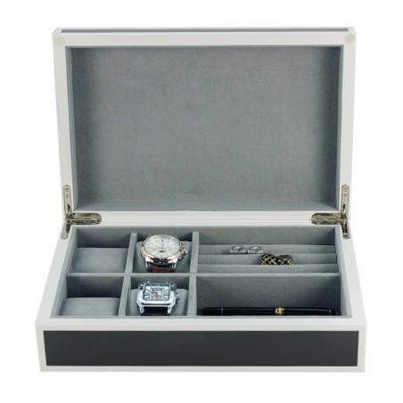 Klocklåda / Smyckeskrin i antracit trä för 4 klockor och smycken
