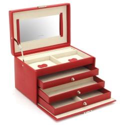 Friedrich smyckeskrin av snygg röd läder