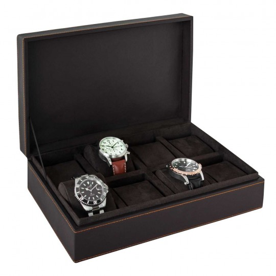 BECO klockbox / klocklåda för 8 klockor av äkta mörk brun läder