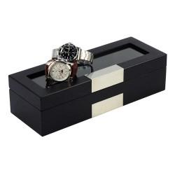 Klockbox / klocklåda i matt svart trä faner, förvaring av 5 klockor