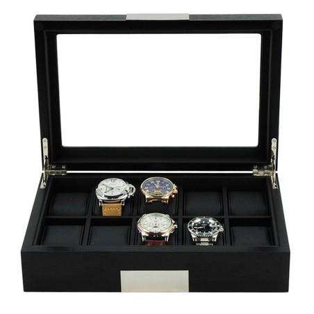 Klockbox / klocklåda i matt svart trä faner, förvaring av 10 klockor