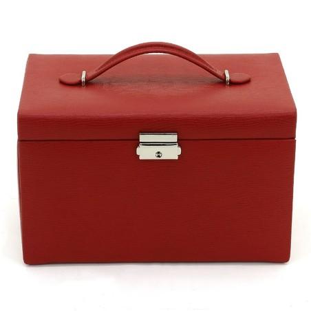 Friedrich smyckeskrin av genuint röd läder med 3 lådor