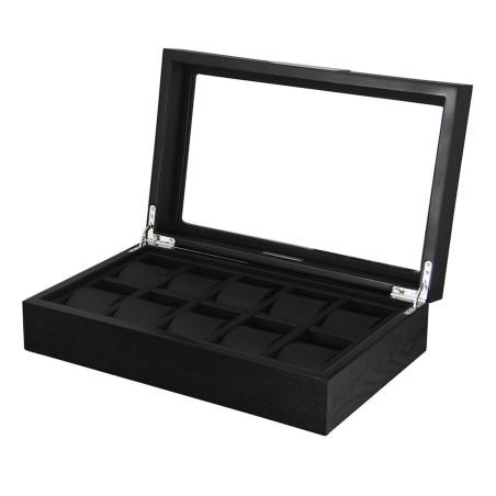 Klocklåda / klockbox för 10 klockor i matt svart träfaner