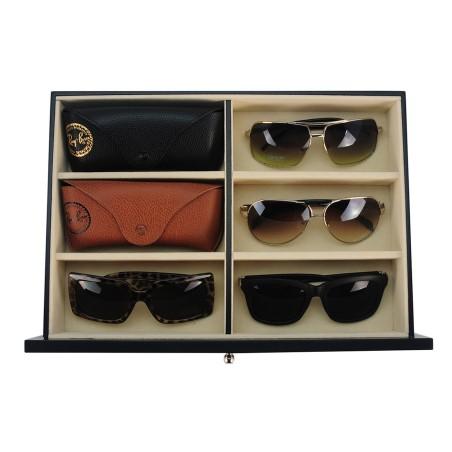 Glasögan box för 12 solglasögon / glasögon / flugor - ebenholts finis