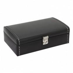 Friedrich klockbox av äkta svart läder för 10 klockor