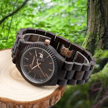 LINDENÆS träklocka av äkta svart sandelträ - stor män klocka