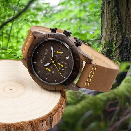 LINDENÆS Träklocka av hållbart svart sandelträ - trendig 41 mm klocka