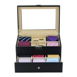 Slipslåda för 12 slipsar, svart kolfiber look