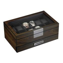 lindenaes-klocklada-klockbox-foer-12-klockor-aekta-valnoet-trae-med-lada