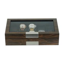 LINDENÆS klocklåda / klockbox i äkta valnöt trä för 8 klockor och smycken