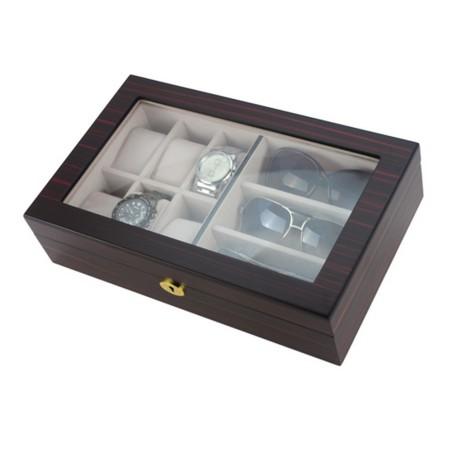 Klockbox / glasöganbox av ebenholts för 6 klockor och 3 glasögon