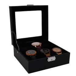 LINDENÆS klockbox / klocklåda för 6 klockor - svart cross grain läder