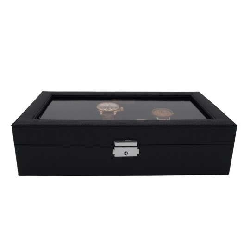 LINDENÆS klockbox / klocklåda för 12 klockor - trendy svart cross grain läder