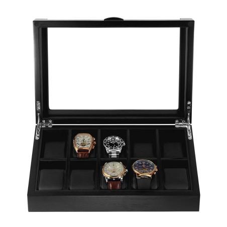 Klockbox / klocklåda i matt svart trä, för 10 klockor