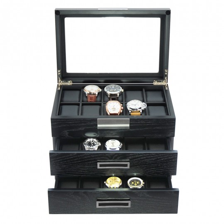LINDENÆS klocklåda / klockbox för 30 klockor i matt svart träfaner