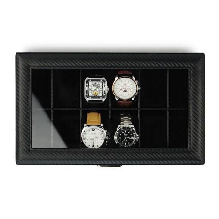 Klockbox / klocklåda för 12 klockor - svart kolfiber look