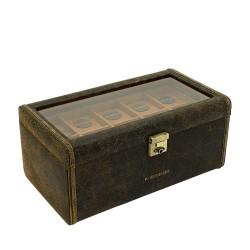 Friedrich klockbox / klocklåda av äkta brun läder, förvar 20 klockor
