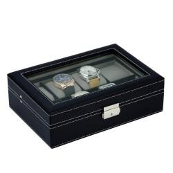 Klocklåda / klockbox i svart läder förvar 8 stora klockor