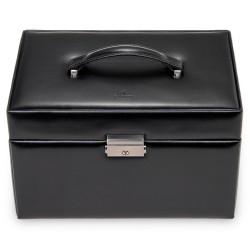 SACHER stor lyx smyckeskrin i äkta svart italiensk läder