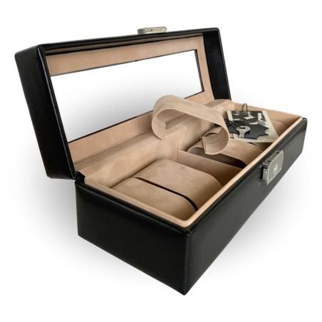 SACHER klocklåda / klockbox i äkta svart läder förvar 6 klockor