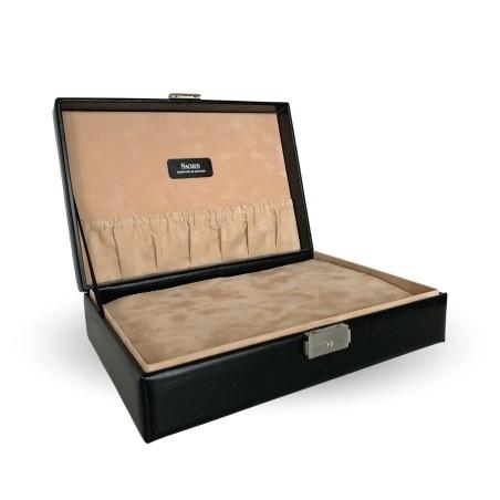 SACHER lyx klocklåda / klockbox i äkta svart läder förvar 12 klockor