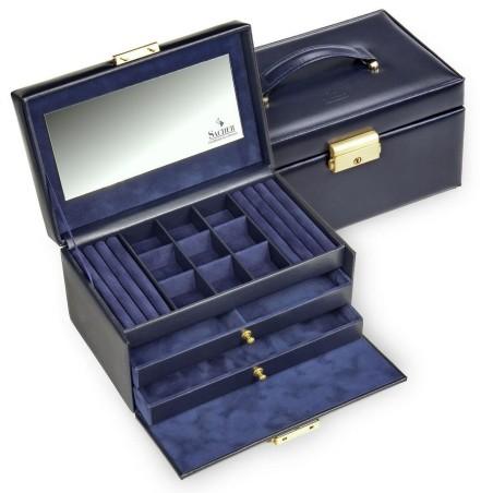 SACHER smyckeskrin av äkta blå italiensk läder