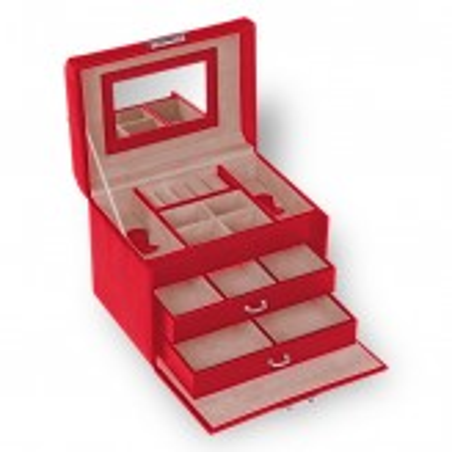 SACHER Sonja smyckeskrin klassisk stil av röd läder