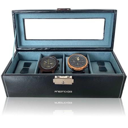 Friedrich Klocklåda av svart läder - förvaring av 4 klockor
