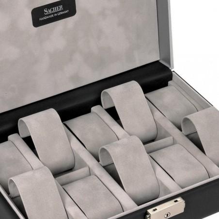 SACHER trendiga klocklåda av svart läder - för 10 klockor