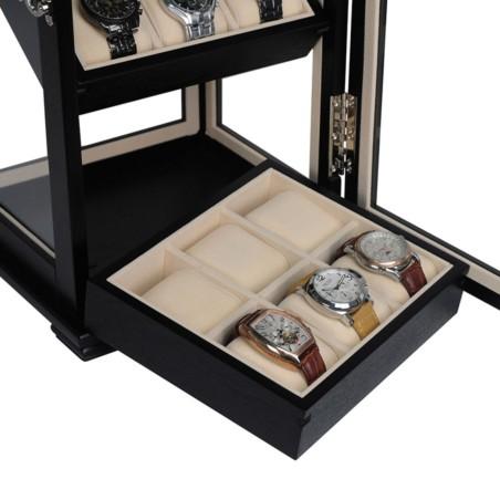 Klockskåp / klockbox i svart trä faner, snygg förvaring av 18 klockor