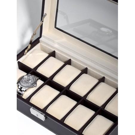 Klocklåda / klockbox för 12 klockor i brun konstläder