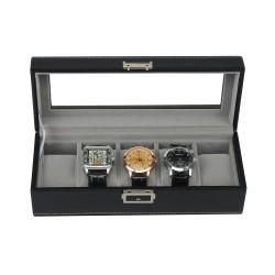 Klockbox / klocklåda i svart läder för 5 klockor