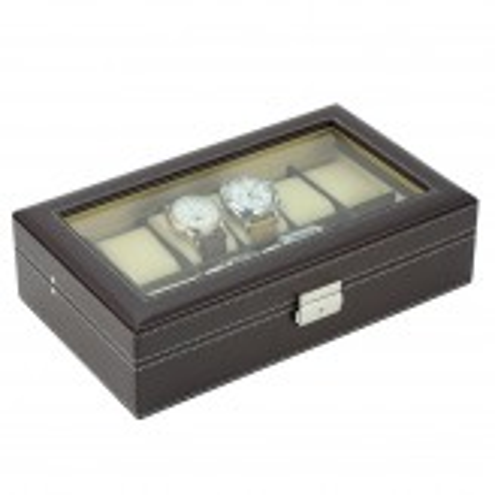 Klocklåda / klockbox för 10 större klockor, brun konstläder