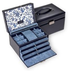 SACHER stor lyx smyckeskrin i äkta blå italiensk läder
