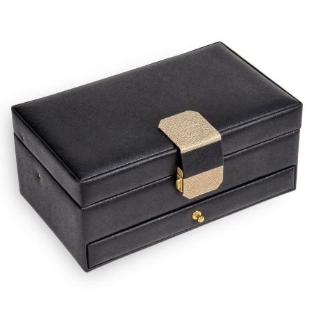 SACHER smyckeskrin Helen i elegant svart läder med Saffiano mönster