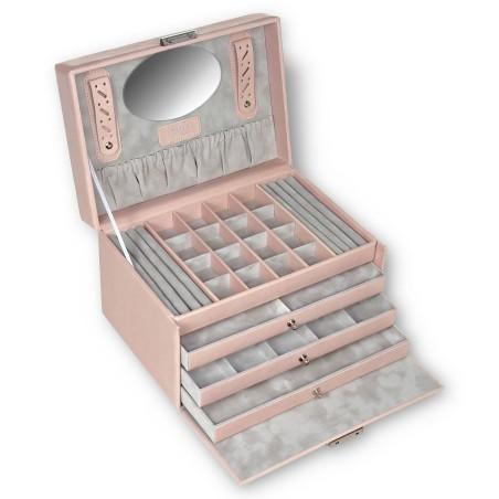 SACHER stor lyx smyckeskrin i äkta rosa färgat italiensk läder