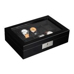 LINDENÆS klocklåda / klockbox för 10 klockor, svart lackerad trä