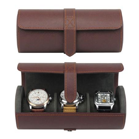 LINDENÆS reseförvaring klockbox för 3 klockor - brun Saffiano mönster