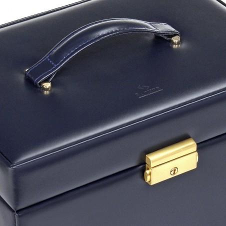 SACHER Lena stor lyx smyckeskrin i äkta marinblå italiensk läder