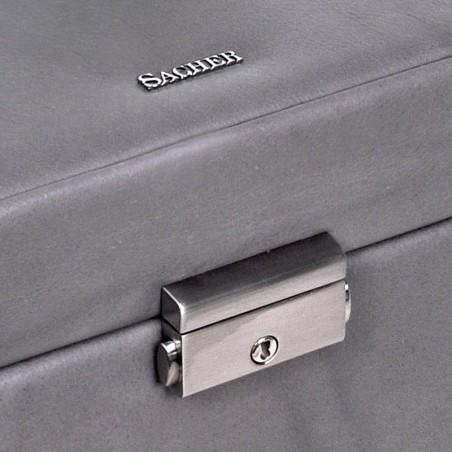 SACHER Lena stor lyx smyckeskrin i äkta grå italiensk läder