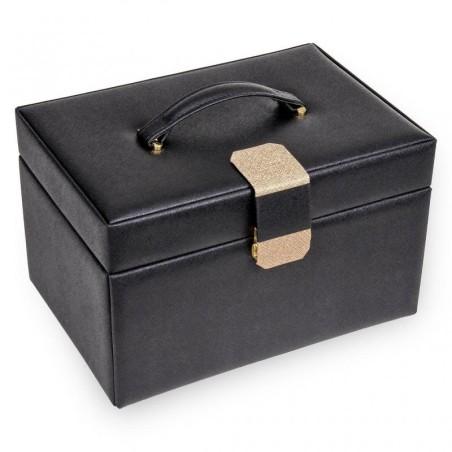 SACHER Lena stor lyx smyckeskrin i elegant svart läder med Saffiano mönster