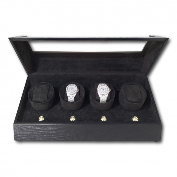 LINDENÆS lyx watch winder / klockuppdragare för 2 klockar - svart trä - 230V eller batteri