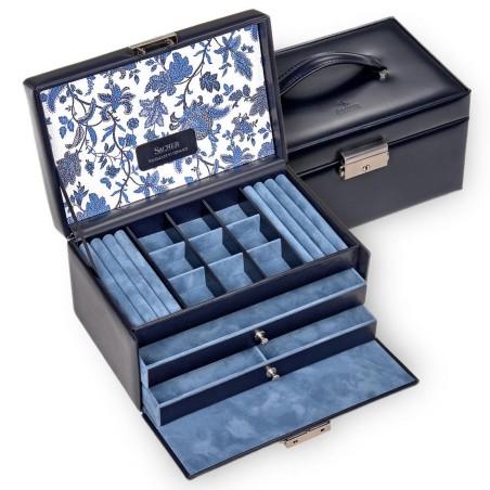 SACHER Elly smyckeskrin av äkta blå italiensk läder med blomma dekoration